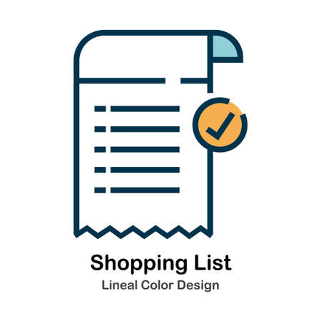 Shopping List Icon In Lineal Color Design Vector Illustration