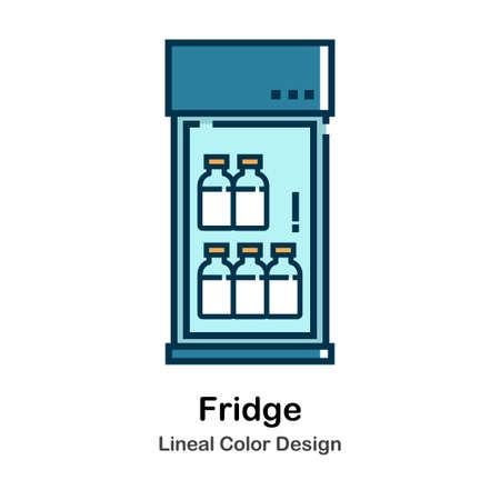 Fridge Icon In Lineal Color Design Vector Illustration Vector Illustratie