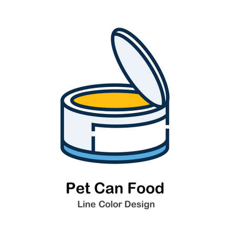 Pet Can Food Icon In Line Color Design Vector Illustration 向量圖像