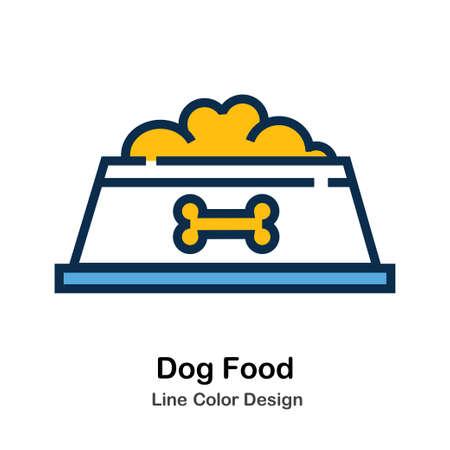 Dog Food Icon In Line Color Design Vector Illustration