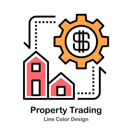 Property Trading Icon In Line Color Design Vector Illustration Çizim