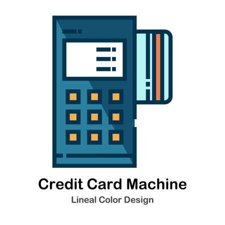 Illustrazione vettoriale di colore lineare della macchina della carta di credito