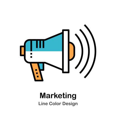 Marketing Icon In Line Color Design Vector Illustration Çizim