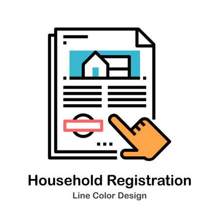 Household Registration Icon In Line Color Design Vector Illustration
