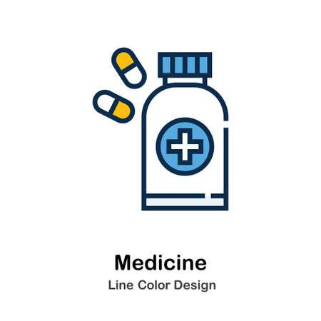 Medicine Icon In Line Color Design Vector Illustration