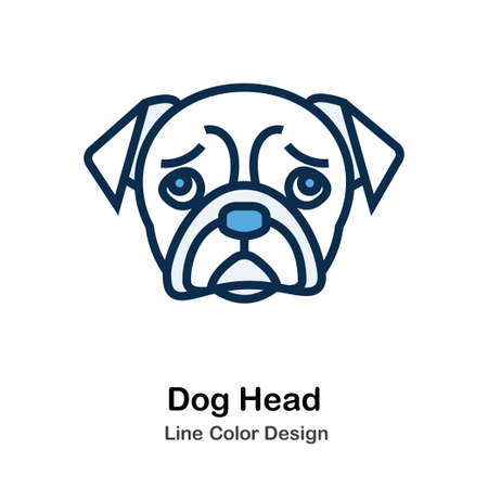 Dog Head Icon In Line Color Design Vector Illustration