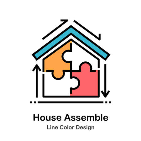 House with puzzle pieces line color icon