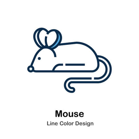 Mouse Line Icon In Line Color Design Vector Illustration Çizim