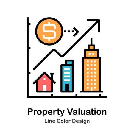 Immobilienbewertungssymbol in der Linienfarbe Design-Vektor-Illustration
