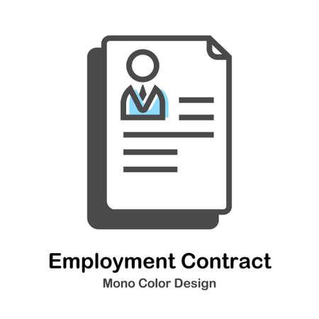Employment Contract Icon In Mono Color Design Vector Illustration  イラスト・ベクター素材