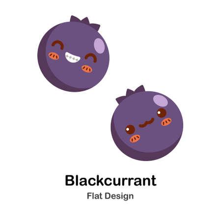 Symbol der schwarzen Johannisbeere in der flachen Farbdesign-Vektorillustration