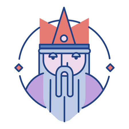 Bearded king with a crown Line color illustration
