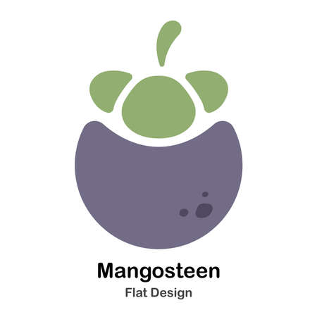 Mangosteen Icon In Flat Color Design Vector Illustration