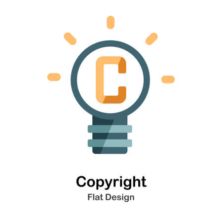 C symbol in lightbulb Flat icon