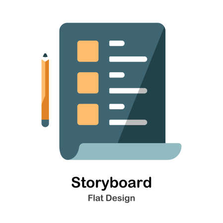 Pencil and storyboard paper Flat icon