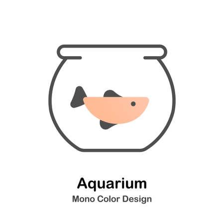 Poisson dans l'icône de couleur mono bol verres