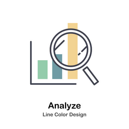 Analyze Icon In Lineal Color Design Vector Illustration