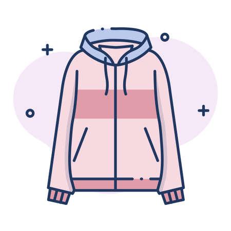 Hooded top vector illustration in line color design