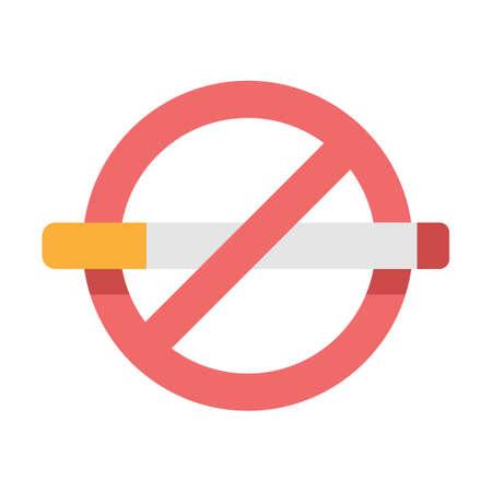 Cigarette with forbidden sign vector illustration in flat color design