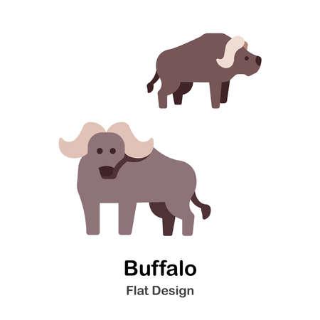 Buffalo Icon In Flat Color Design Vector Illustration