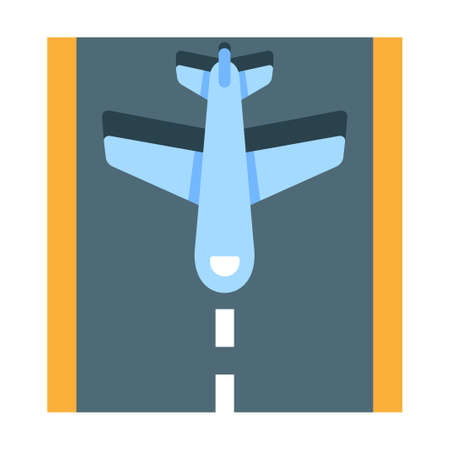Plane wirh a runway vector illustration in flat color design
