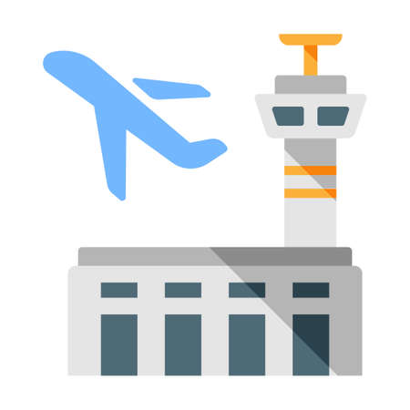 Airport and a plane vector illustration in flat color design Çizim