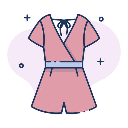Jumpsuit vector illustration in line color design Vectores