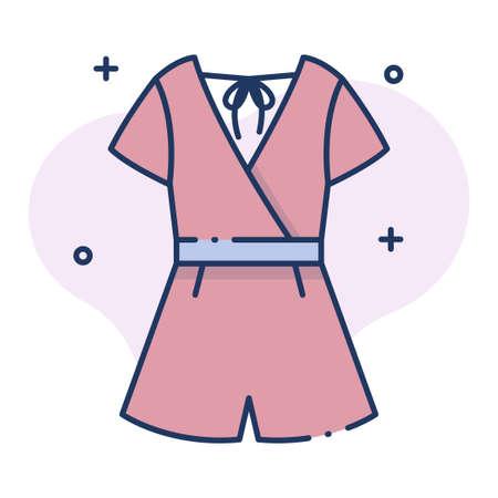 Jumpsuit vector illustration in line color design Vettoriali