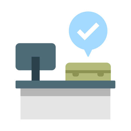 computer with a baggage and tick mark bubble vector illustration in flat color design