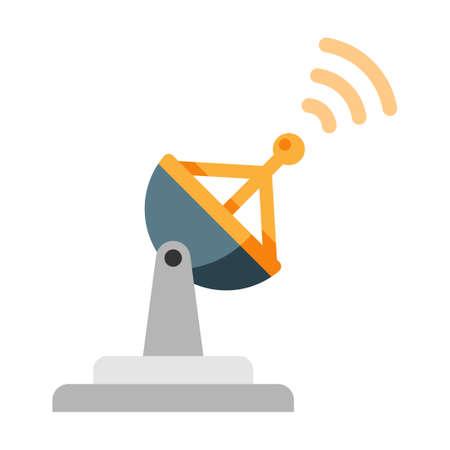 Radar con ilustración de vector de icono de señal en diseño de color plano