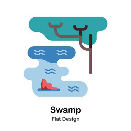 Swamp and tree flat illustration Ilustração