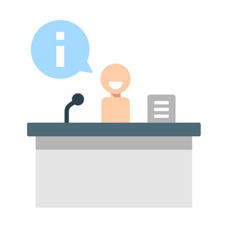 Information table and a person with i on chat bubble vector illustration in flat color design Çizim