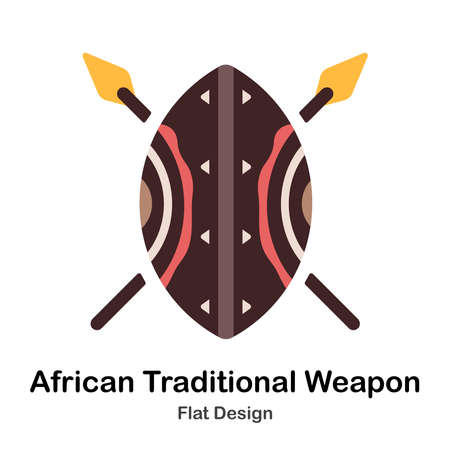 African shield and spears flat illustration Иллюстрация