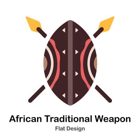 Illustrazione piana di scudo e lance africane