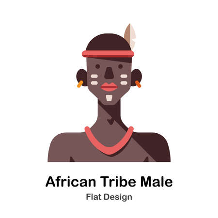 African tribe male flat illustration