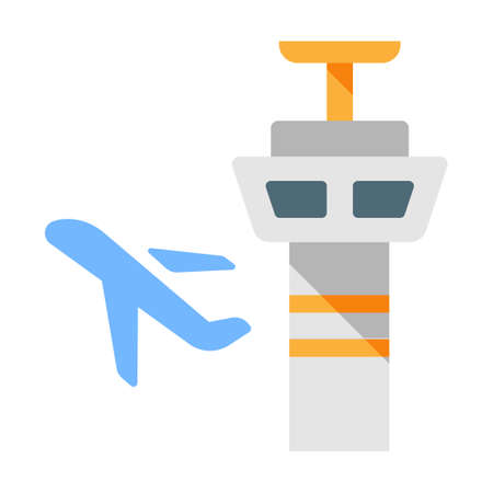 Control tower and plane vector illustration in flat color design