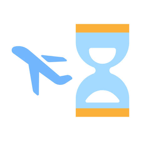 Hourglass and plane vector illustration in flat color design Illustration