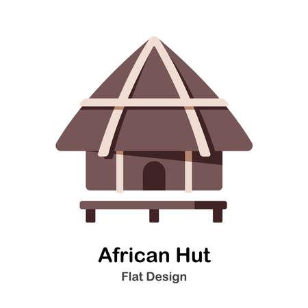 African hut flat illustration Ilustração