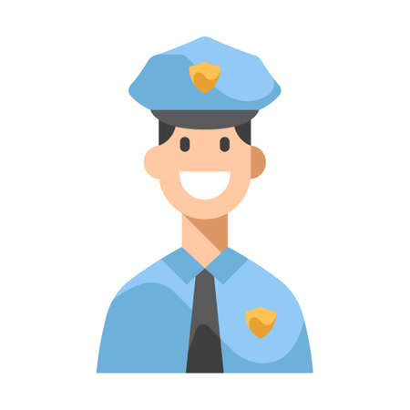 Man with a police uniform vector illustration in flat color design