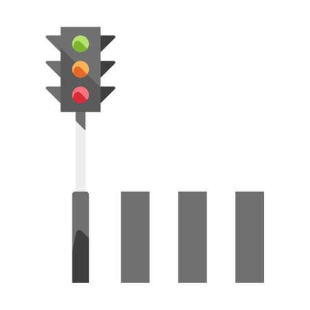 Traffic light and a crosswalk vector illustration in flat color design Illustration
