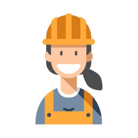 Worker woman vector illustration in flat color design