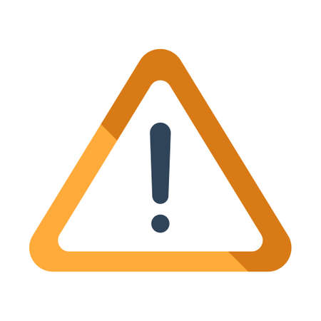 Warning icon vector illustration in flat color design