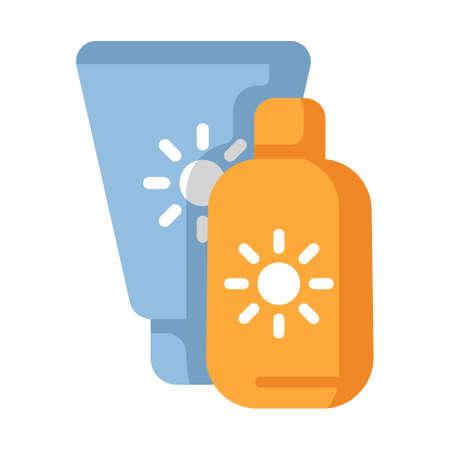 Sunscreen tubes vector illustration in flat color design