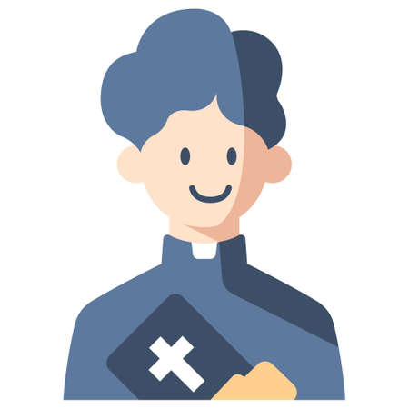 Priest with bible vector illustration in flat color design Illustration