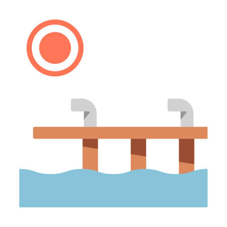 Dock and sun vector illustration in flat color design