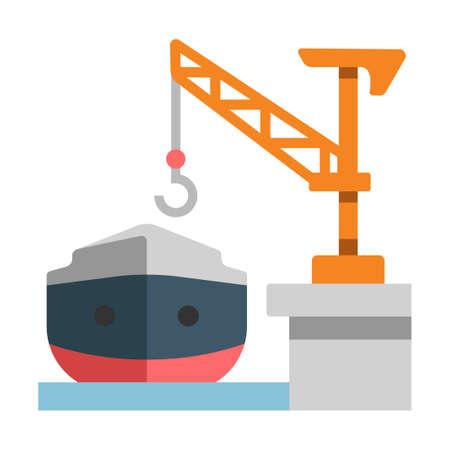 Shipyard with a ship vector illustration in flat color design Archivio Fotografico - 111955799