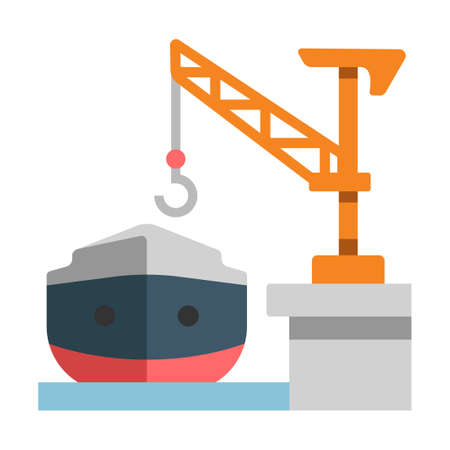 Shipyard with a ship vector illustration in flat color design Illustration