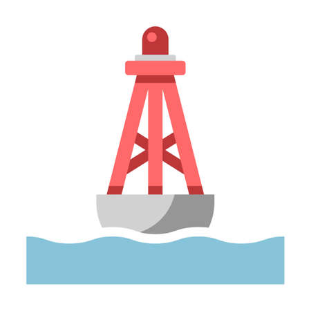 Bouée flottante sur l'illustration vectorielle de la mer dans un design plat couleur Vecteurs