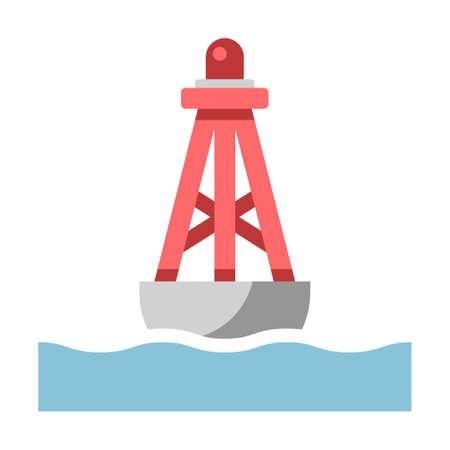 Schwimmende Boje auf der Meeresvektorillustration in flachem Farbdesign Vektorgrafik