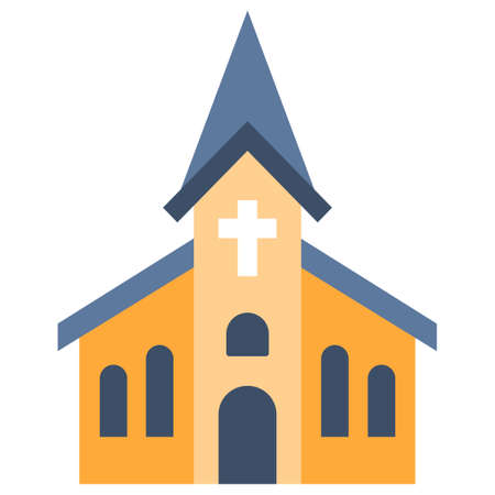 A church vector illustration in flat color design
